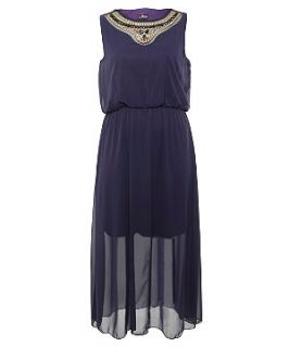 Lovedrobe Purple Embellished Neck Maxi Dress