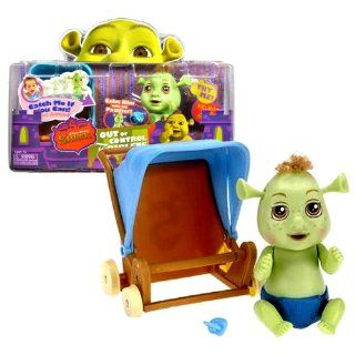 MGA Entertainment Year 2007 Dreamworks Shrek Out of Control Triplets Series 4 1/2 Inch Tall Silly Baby Ogre with Talk and Motion Figure   Blue Diaper Baby Boy with Wiggling Ears, Baby Stroller and Pacifier: Toys & Games