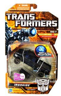 """Hasbro Year 2009 Transformers """"Hunt for the Decepticons"""" Series 6 Inch Tall Robot Action Figure   Autobot IRONHIDE with Cannon Drone (Vehicle Mode: GMC Topkick Pick Up Truck): Toys & Games"""