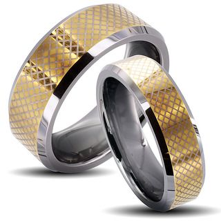 Tungsten Carbide Two tone Checkered His and Her Wedding Band Set Men's Rings