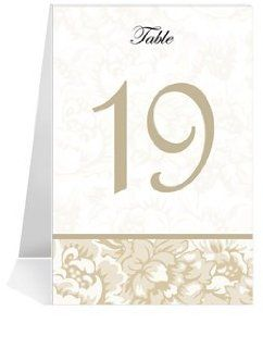 Wedding Table Number Cards   Taupe Floral Jubilee #1 Thru #50: Office Products