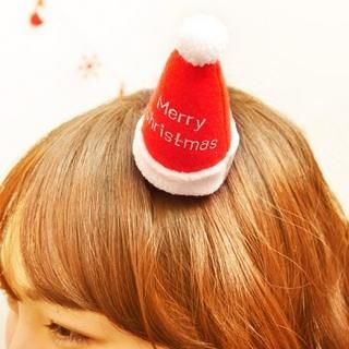 Merry Christmas Mini Santa Hat Hair Clip, Red , XS   iswas
