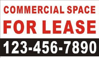 3ftX5ft Custom Printed COMMERCIAL SPACE FOR LEASE Banner Sign with Your Phone Number Patio, Lawn & Garden