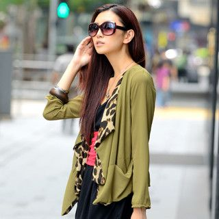 Leopard Trim Chiffon Cardigan, Army Green , One Size   SO Central