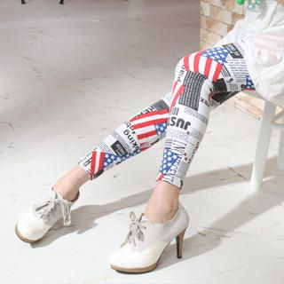 Cotton American Flag Print Leggings, White , One Size   59 Seconds