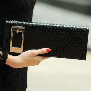 Snake Skin Buckled Clutch   SO Central