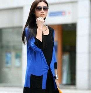 Color Block Tie Front Cardigan, Royal Blue and Black , One Size   SO Central