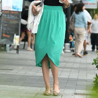 Chiffon Tulip Skirt (Belt not Included), Green , One Size   SO Central