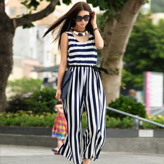Striped Sleeveless Wide Leg Jumpsuit, Navy Blue and White , One Size   SO Central