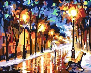 Rain road,Autumn Acrylic (2013 New DIY paint by number 16*20'' kit) Arts, Crafts & Sewing