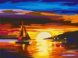 Boat in Sunset glow acrylic (2013 New DIY paint by number 16*20'' kit) Arts, Crafts & Sewing