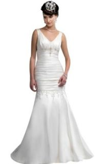Biggoldapple Mermaid/trumpet V Neck Court Train Wedding Dress 649x: Clothing