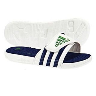 Women's Adidas Adissage FitFOAM Slide Tennis Sandal   White/Navy/Matt Green (11): Shoes