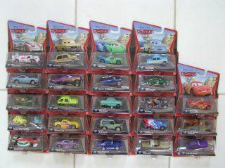 Disney Pixar Cars 2 Set of 24 Different Mattel Vehicles 155 Scale   Includes (1) Race Team Mater, (2) Finn McMissile, (3) Lightning McQueen, (4) Francesco Bernoulli, (5) Holley Shiftwell, (7) Jeff Gorvette, (8) Carla Veloso, (9) Raoul Caroule, (10 & 1