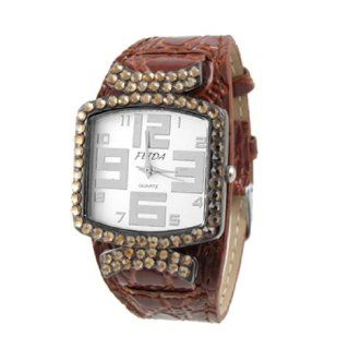 Ladies Arabic Number Brown Faux Leather Band Watch: Watches
