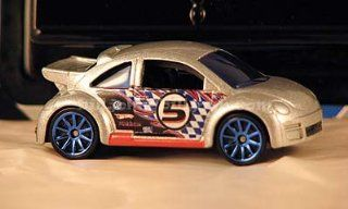 2010 Hot Wheels Mystery Cars VW Volkswagen Beetle Cup (bug) silver grey with racing number: Toys & Games