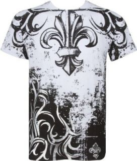 Sakkas Fleur de Lis Tree Branches Metallic Silver Embossed Cotton Mens T Shirt: Clothing