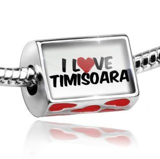 Bead with Hearts I Love Timisoara   Charm Fit All European Bracelets , Neonblond: NEONBLOND: Jewelry