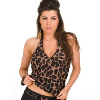 Camille Womens Ladies Black And Brown Animal Print Halter Neck Padded Tankini Top 6 Clothing