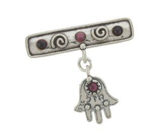 Silver Jewish Jewelry Brooch Decorative Pin. Antique Look Broach with Garnets and Hamsa (Good Luck). 3 X 3mm and 2 X 2.5mm Round Cabochon Garnet Stones. 925 Sterling Silver. Designed in Israel By Bili Silver. Shipped Directly From Tel Aviv in a Gift Box. G