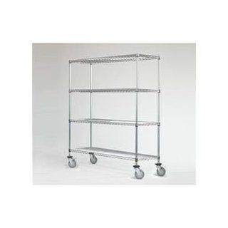 "Omega Precision   Mobile Chrome Wire Shelving Starter Unit 800lb Capacity: Qty(4) 24"" Deep x 66"" Wide Wire Shelves Qty(4) 86"" High Posts Qty(4) Rubber Casters: Industrial & Scientific"