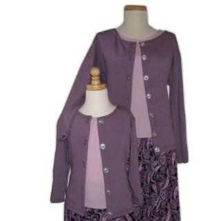 Mother Daughter Matching Purple Cardigan Twin Set Sweaters (Girls XS (2/4)) Clothing