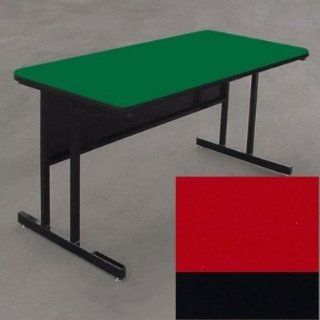Correll WS2472 25 29 in Desk Height Work Station w/ 1.25 in Top, 24 x 72 in, Red/Black, Each: Kitchen & Dining