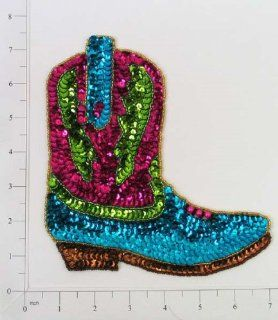 "6 3/4"" x 6 1/2"" Cowgirl Boot Sequin Applique Multiple Colors: Arts, Crafts & Sewing"