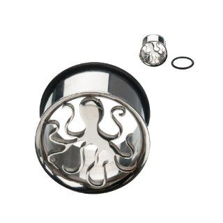 """316L Surgical Steel Single Flare Octopus Tunnel Plugs with O Ring   7/16"""" (11mm)   Sold as a Pair: Jewelry"""