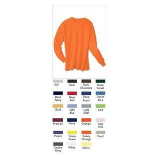 Hanes TAGLESS 6.1 Long Sleeve T Shirt 5586, Gold, M Clothing