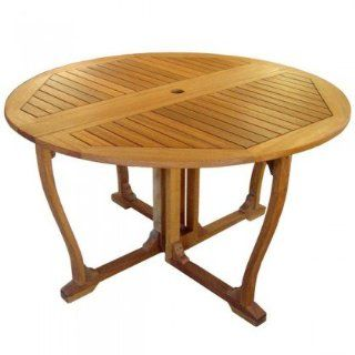 International Caravan Royal Tahiti 52 in. Round Gateleg Outdoor Dining Table: Patio, Lawn & Garden