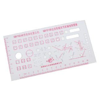 15cm Centimeter Measuring Red Scale Clear Plastic Mechanical Drawing Template Ruler  Office And School Rulers