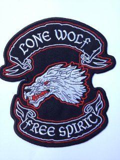 "Huge Lone Wolf Free Spirit Iron on Patch (7"" / 18cm) Embroidered Motor Cycle Hog Chopper Biker Badge"