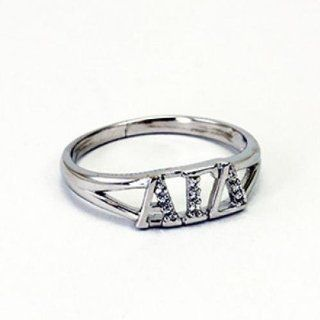 Alpha Gamma Delta Greek Letter Ring with Lab Created Diamonds Size 6: Everything Else