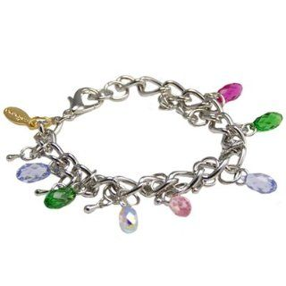 "Jewish Jewelry, Woman Silver Bracelet Handcrafted By Calinana, Accentling Multicolored Briolette Swarovski Crystals. 7"" Long. Great Gift For: Bat Mitzvah Shabbat Passover Wedding Mother's Day Birthday Valentine Anniversary Bridesmaid Graduation: E"