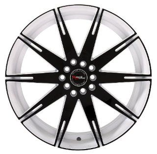 """Racing Power Wheels T986 18x7.5"""" Bore 73.1mm Dual Drilled 5x100mm 5x114.3mm White with Black Chrome Automotive"""