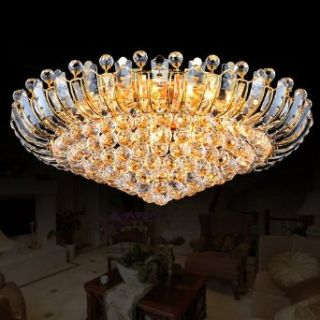 New! Modern Luxury K9 Crystal Ceiling Light Fixture Large LED Lighting Living Room Lights Golden D 23.5 * H9.4 Inch 110 240 V: Home Improvement