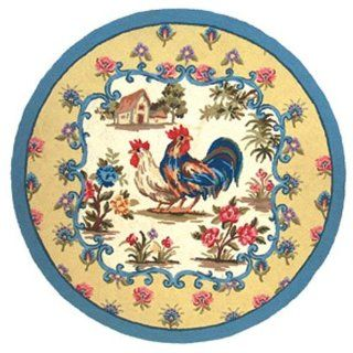 123 Creations C233.4 foot round Rooster Petit Point Hooked Rug 120L   100 Percent Wool   Area Rugs