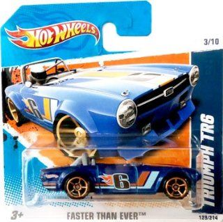 2010 Hot Wheels [Blue] TRIUMPH TR6 #129/214, Faster Than Ever #3/10 (Short Card): Toys & Games