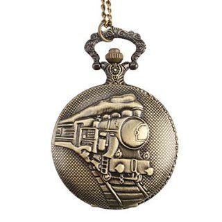 RayShop   Men's Train Style Alloy Analog Quartz Pocket Watch (Bronze): Watches