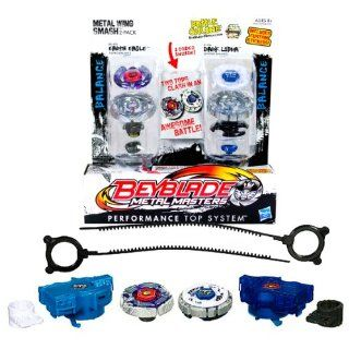 "Hasbro Year 2011 Beyblade Metal Masters High Performance Battle Tops ""Metal Wing Smash"" 2 Pack Set   Balance 145WD BB47A EARTH EAGLE with Face Bolt, Eagle Energy Ring, Earth Fusion Wheel, High Profile 145 Spin Track, WD Performance Tip and Balanc"