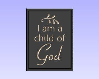 "Decorative Carved Wood Sign with Quote ""I am a child of God"" 3D Carved 9""x12"" Black   Window Treatment Horizontal Blinds"