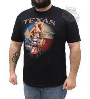 Harley Davidson Mens Texas Pinup Girl Black Short Sleeve T Shirt Clothing