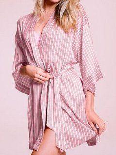 Victoria's Secret Silk Like Satin Kimono Robe w Belt   Pink  Small/Medium
