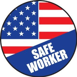 "Accuform Signs LHTL154 Adhesive Vinyl Hard Hat/Helmet Safety Message Label, Legend ""SAFE WORKER   AMERICAN"", 2 1/4"" Diameter, Blue/Red on White (Pack of 10) Industrial Warning Signs Industrial & Scientific"