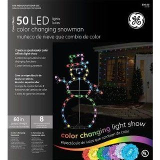 General Electric Color Effects 60in 50 LED Lights Snowman Outdoor Christmas Display : String Lights : Patio, Lawn & Garden