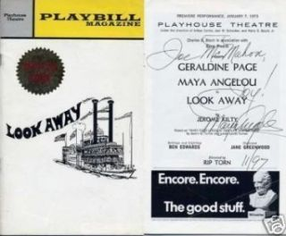 Maya Angelou Look Away Rare Signed Autograph Opening Night Playbill   Memorabilia: Collectibles & Fine Art