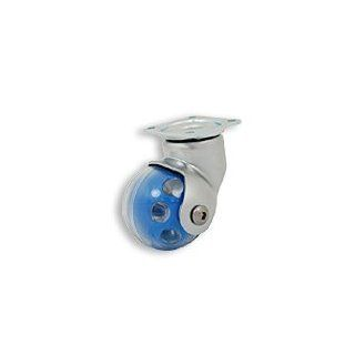 Cool Casters   Ball Wheel Caster, Clear / Blue Wheel, Satin Chrome Yoke, Swivel Plate, No Brake   Item #175 50 BLU SC SP NB: Industrial & Scientific