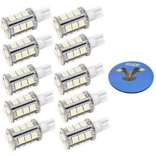 HQRP 10 pack T10 Wedge Base 18 LEDs SMD LED Bulbs Warm White for #194 #168 Cruiser RV Fun Finder Travel Trailer RV Interior / Ceiling Lights Replacement plus HQRP Coaster: Automotive