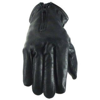 Naked Cowhide Leather Driving Gloves with Zipper and Lined GL2055 L: Clothing